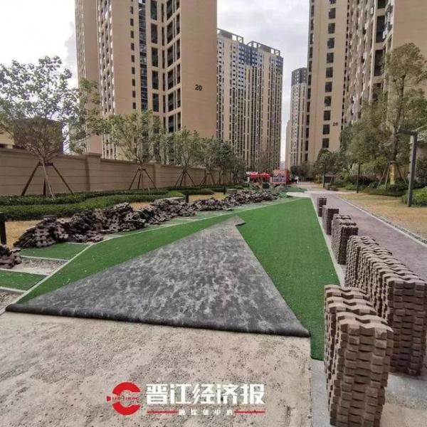 晋江这个小区塑料草